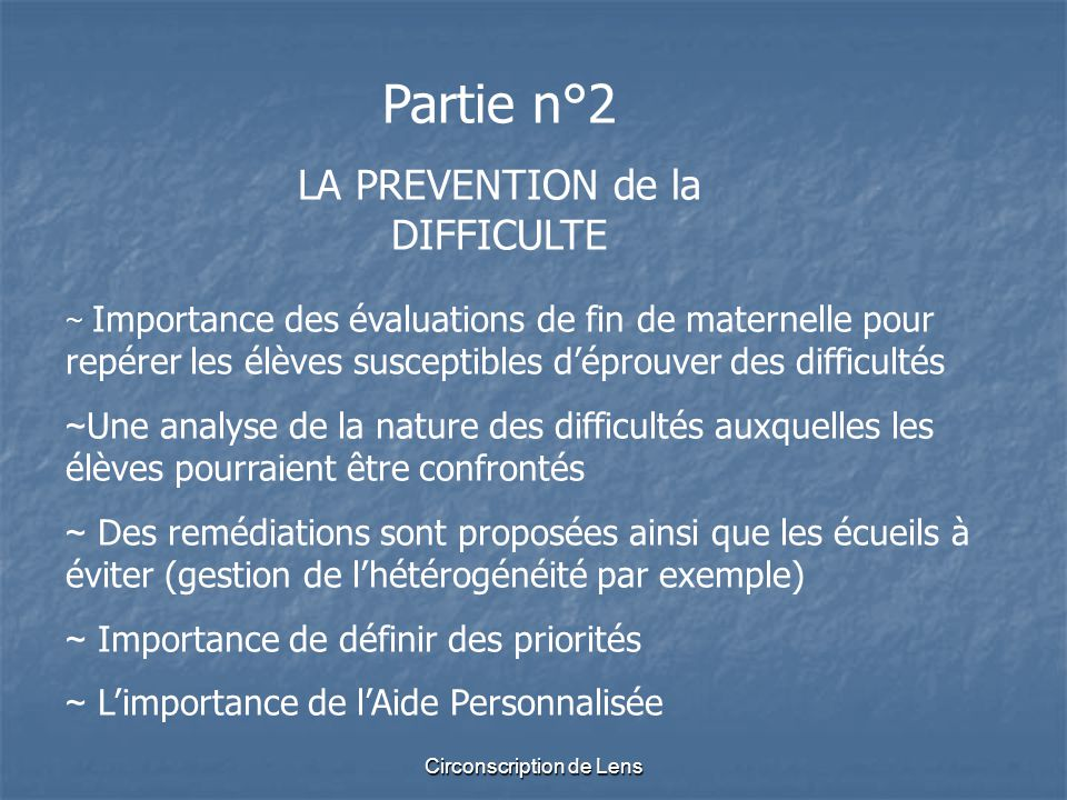 Partie n°2 LA PREVENTION de la DIFFICULTE