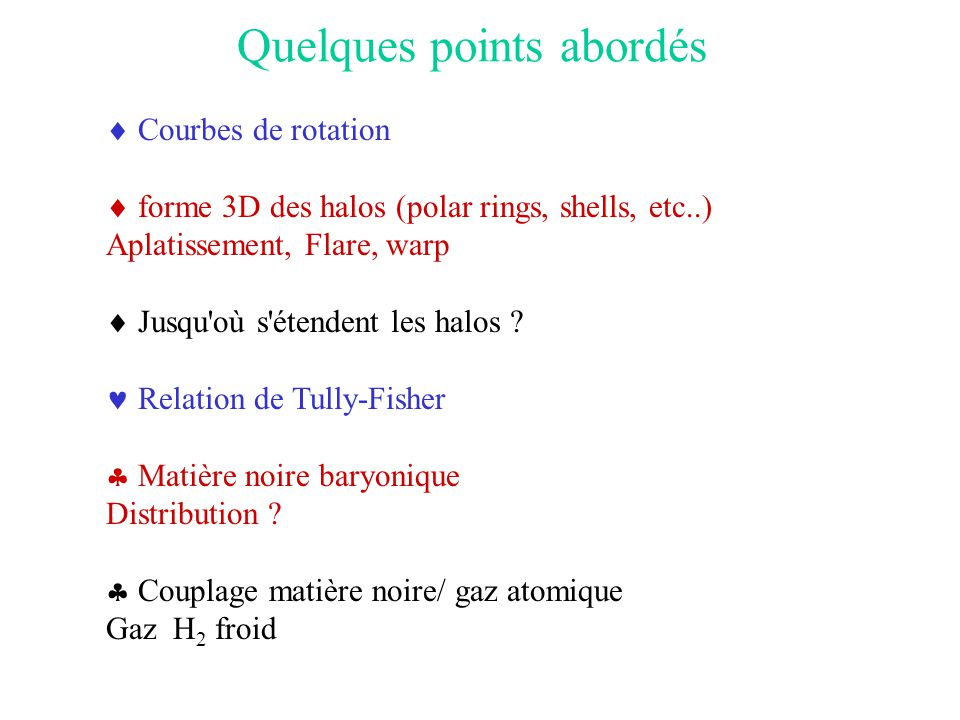 Quelques points abordés