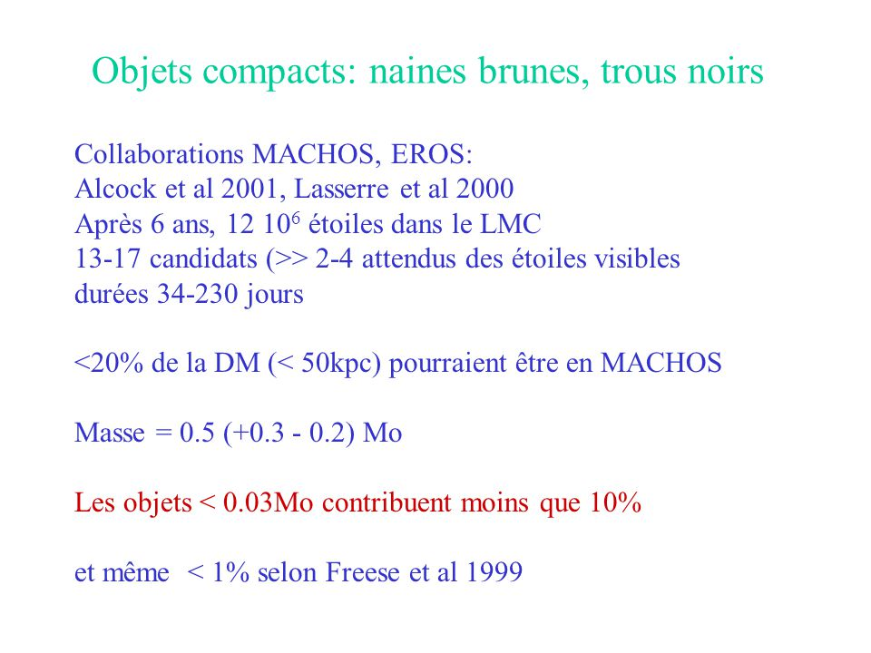 Objets compacts: naines brunes, trous noirs