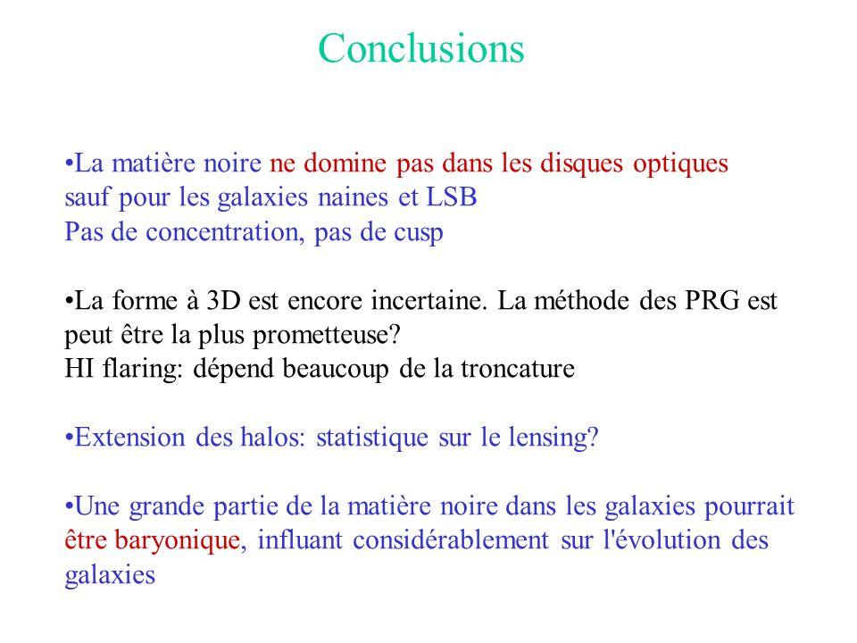 Conclusions La matière noire ne domine pas dans les disques optiques
