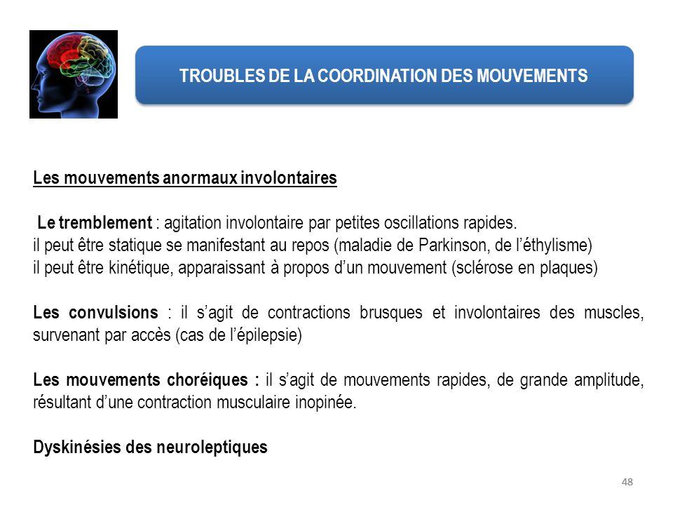 TROUBLES DE LA COORDINATION DES MOUVEMENTS