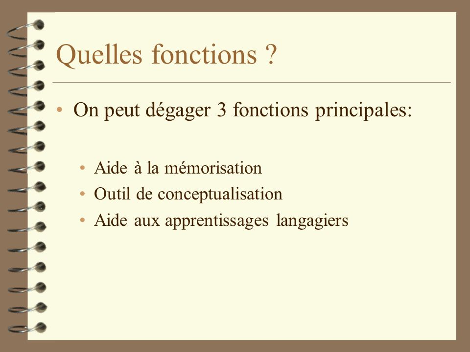 Quelles fonctions On peut dégager 3 fonctions principales:
