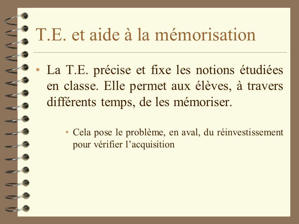T.E. et aide à la mémorisation