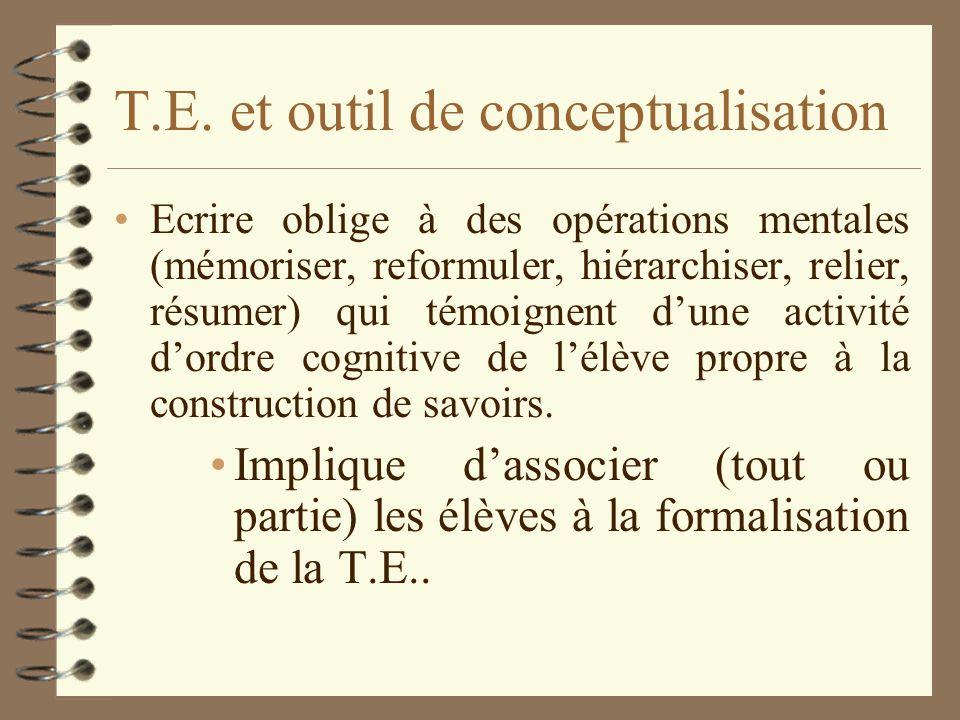 T.E. et outil de conceptualisation