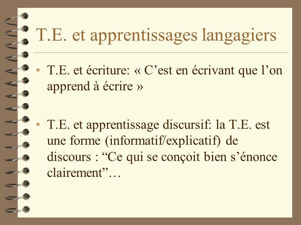 T.E. et apprentissages langagiers