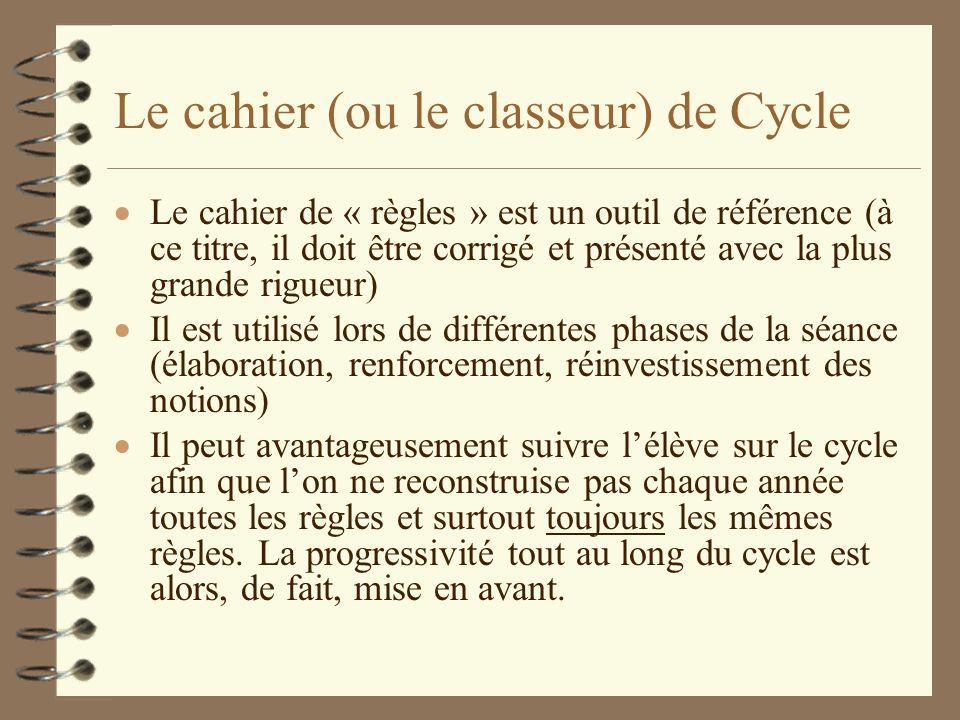 Le cahier (ou le classeur) de Cycle