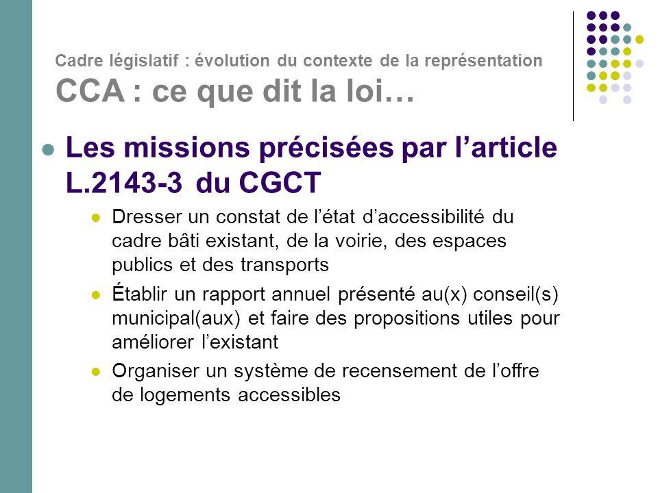 Les missions précisées par l'article L.2143-3 du CGCT