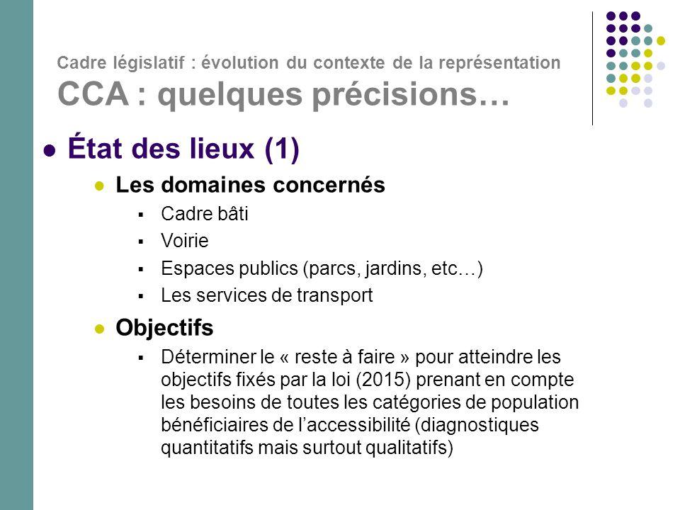 État des lieux (1) Objectifs Les domaines concernés Cadre bâti Voirie