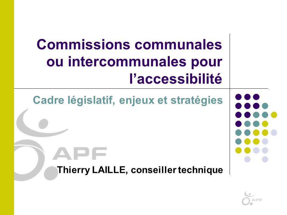 Commissions communales ou intercommunales pour l'accessibilité