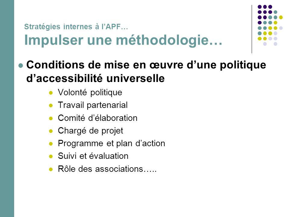 Stratégies internes à l'APF… Impulser une méthodologie…