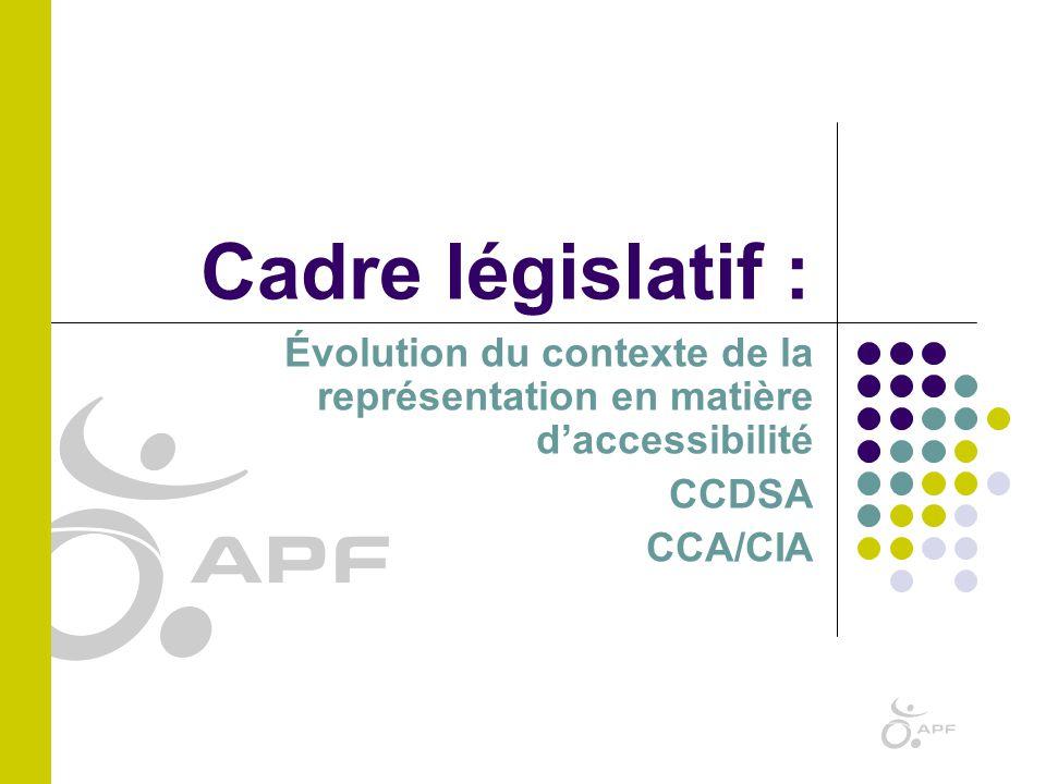 Cadre législatif : Évolution du contexte de la représentation en matière d'accessibilité. CCDSA. CCA/CIA.