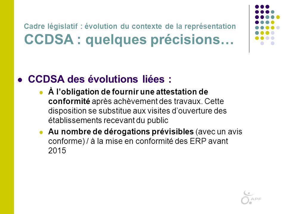 CCDSA des évolutions liées :