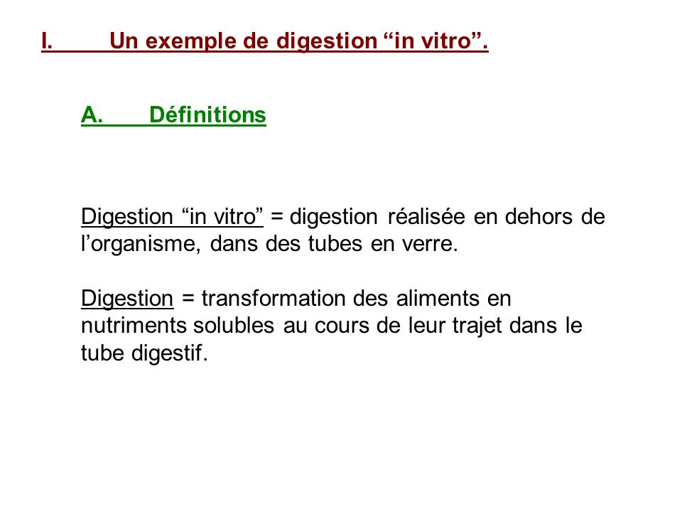 I. Un exemple de digestion in vitro .