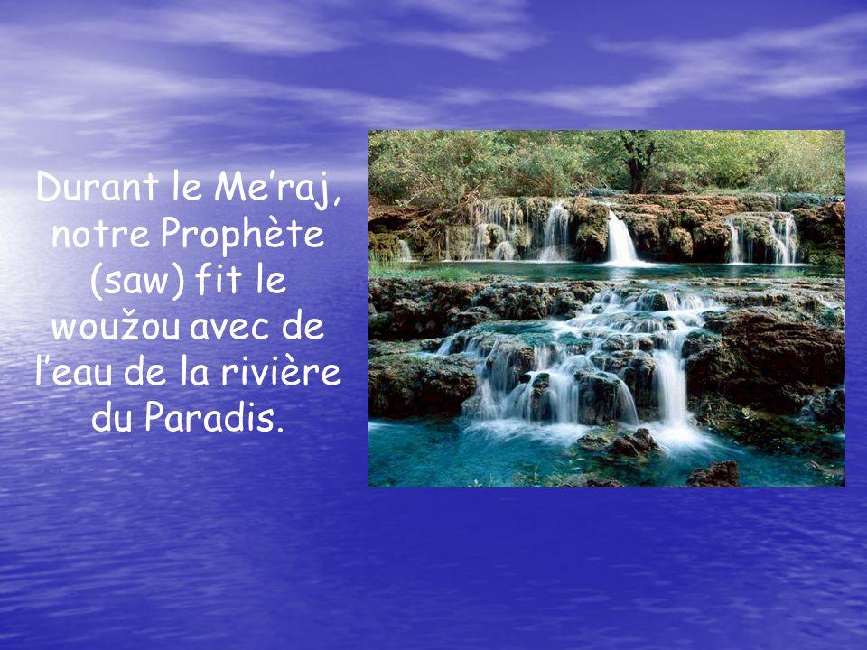 Durant le Me'raj, notre Prophète (saw) fit le woužou avec de l'eau de la rivière du Paradis.