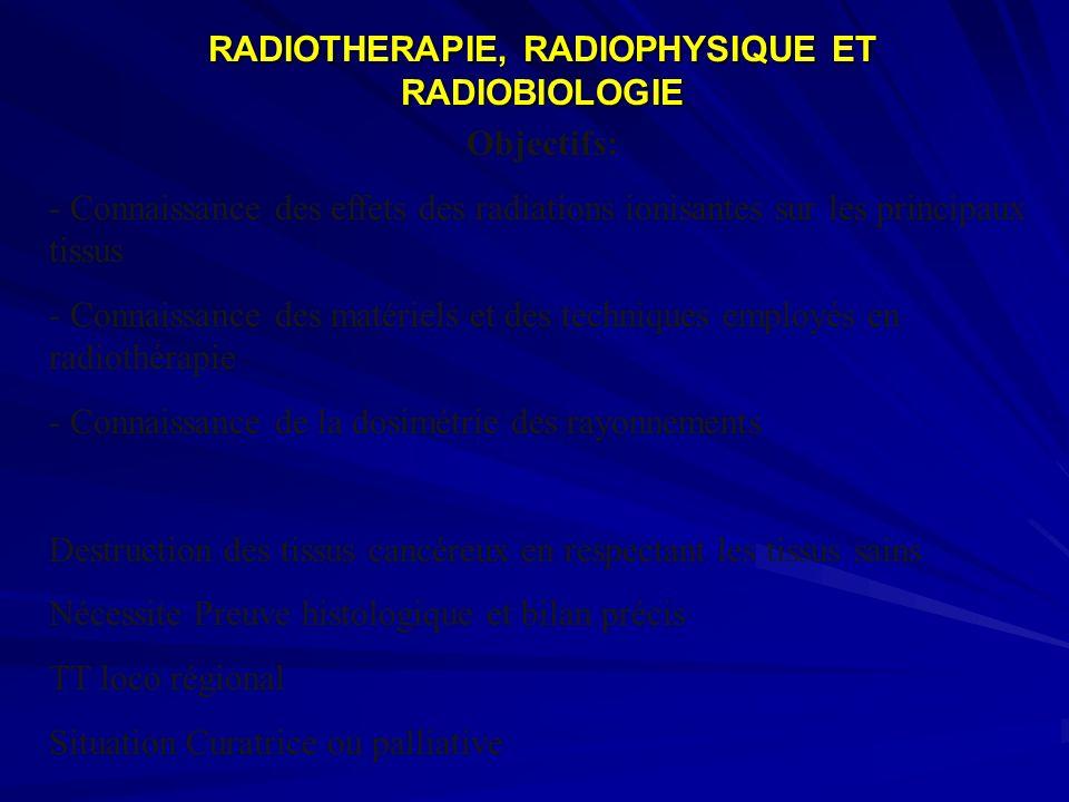 RADIOTHERAPIE, RADIOPHYSIQUE ET RADIOBIOLOGIE