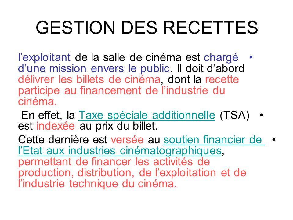 GESTION DES RECETTES