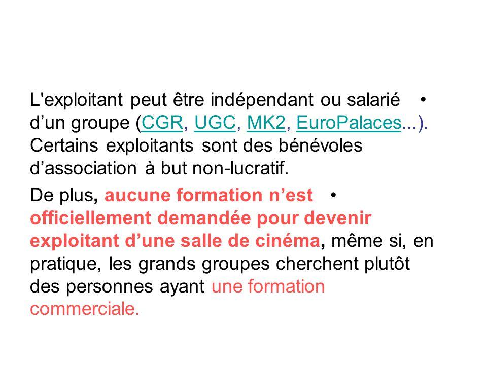 L exploitant peut être indépendant ou salarié d'un groupe (CGR, UGC, MK2, EuroPalaces...). Certains exploitants sont des bénévoles d'association à but non-lucratif.