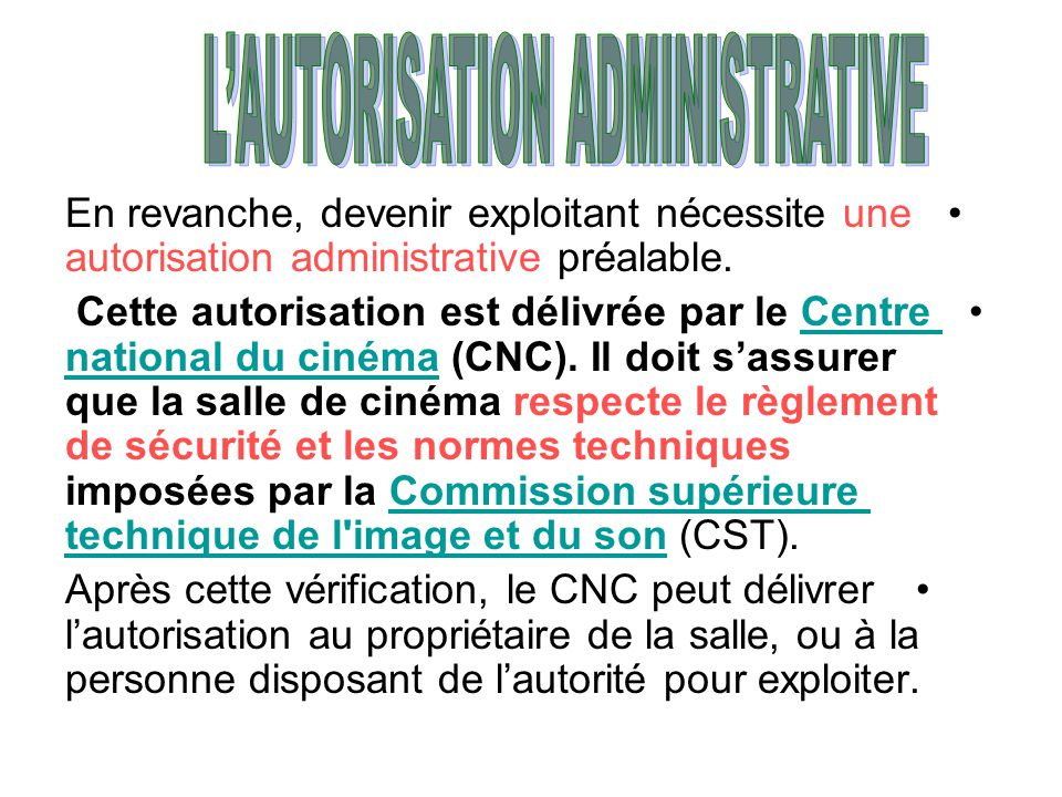 L'AUTORISATION ADMINISTRATIVE