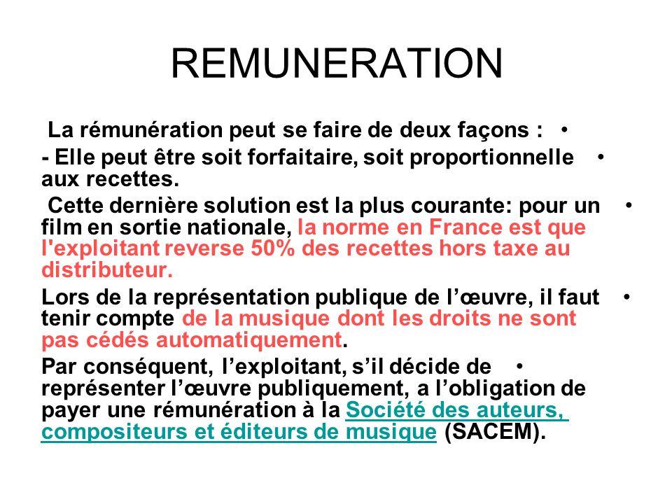 REMUNERATION La rémunération peut se faire de deux façons :