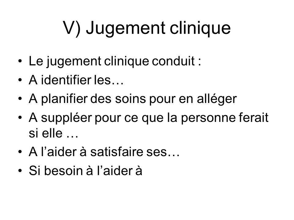 V) Jugement clinique Le jugement clinique conduit : A identifier les…
