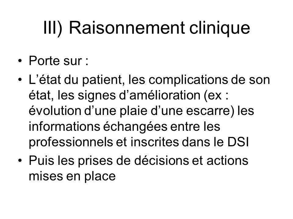 III) Raisonnement clinique