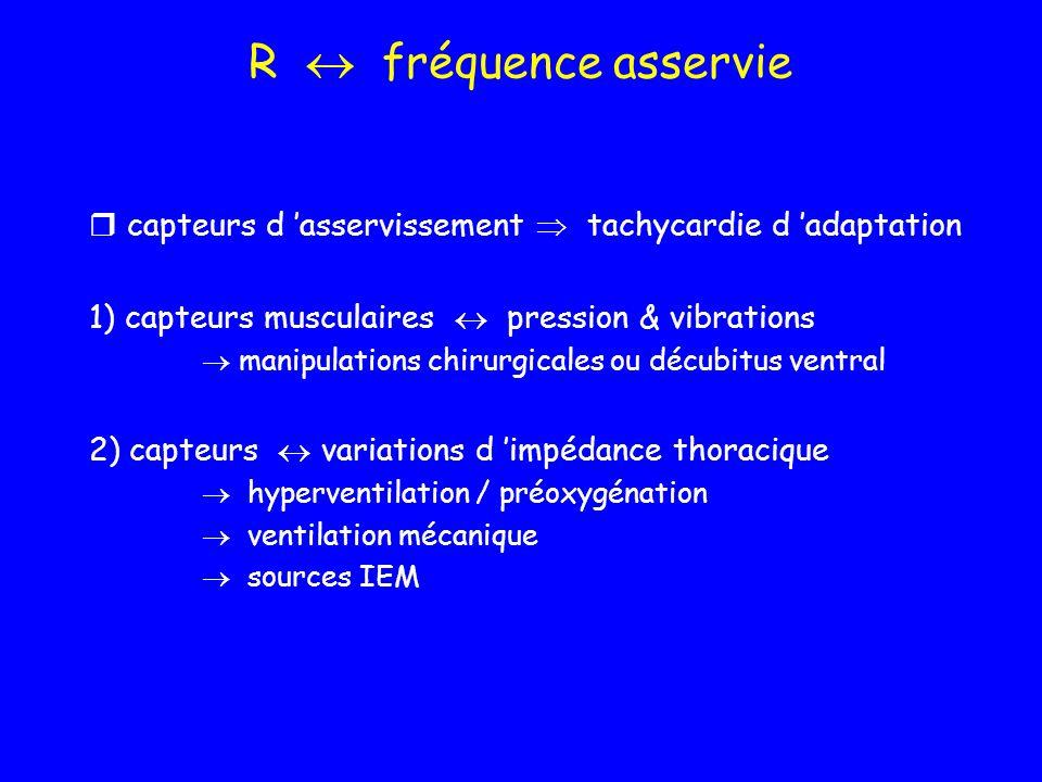 R  fréquence asservie capteurs d 'asservissement  tachycardie d 'adaptation. 1) capteurs musculaires  pression & vibrations.