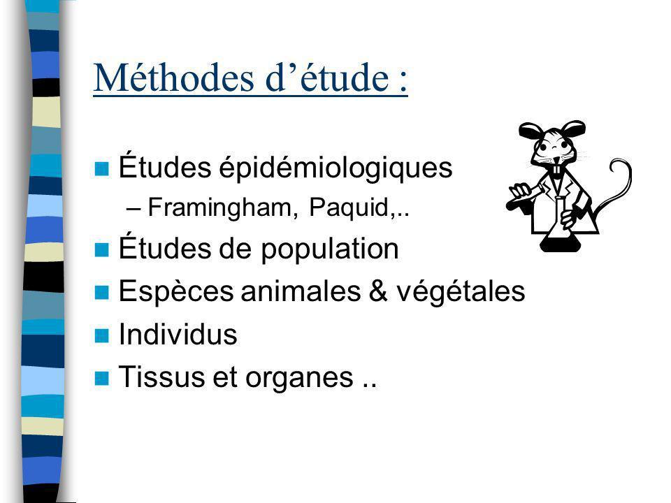 Méthodes d'étude : Études épidémiologiques Études de population