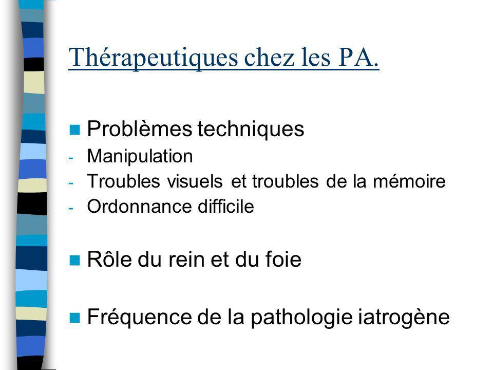 Thérapeutiques chez les PA.