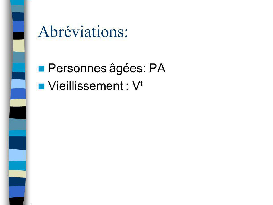 Abréviations: Personnes âgées: PA Vieillissement : Vt