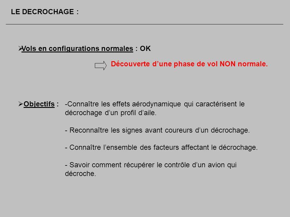 LE DECROCHAGE : Vols en configurations normales : OK. Découverte d'une phase de vol NON normale. Objectifs :