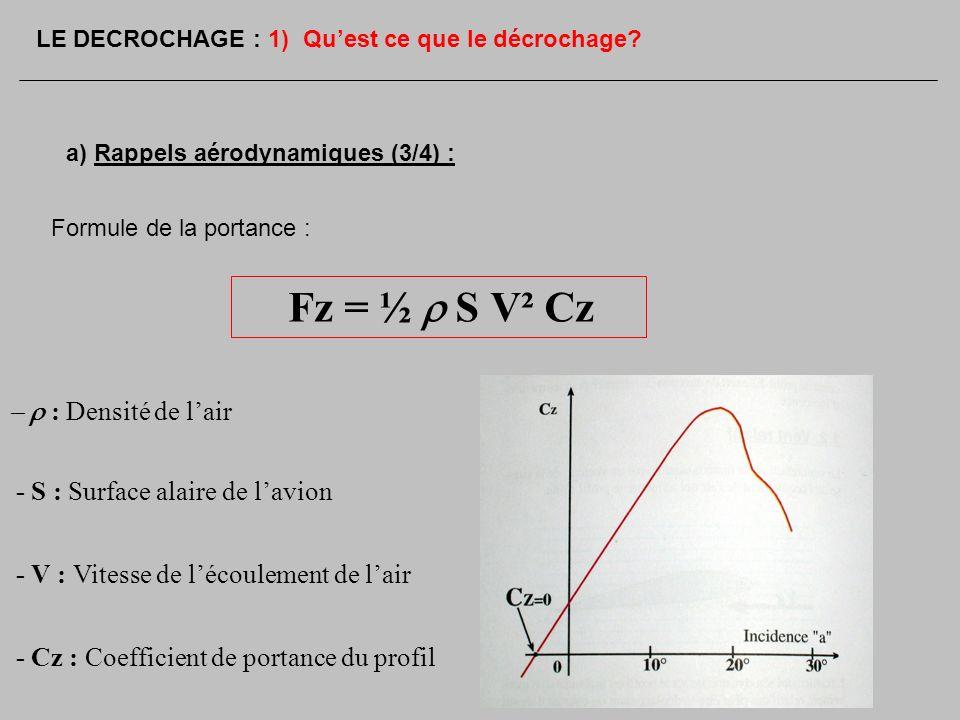 Fz = ½ r S V² Cz - r : Densité de l'air