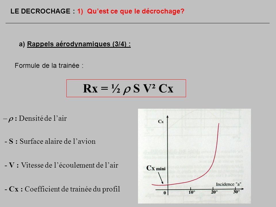 Rx = ½ r S V² Cx - r : Densité de l'air