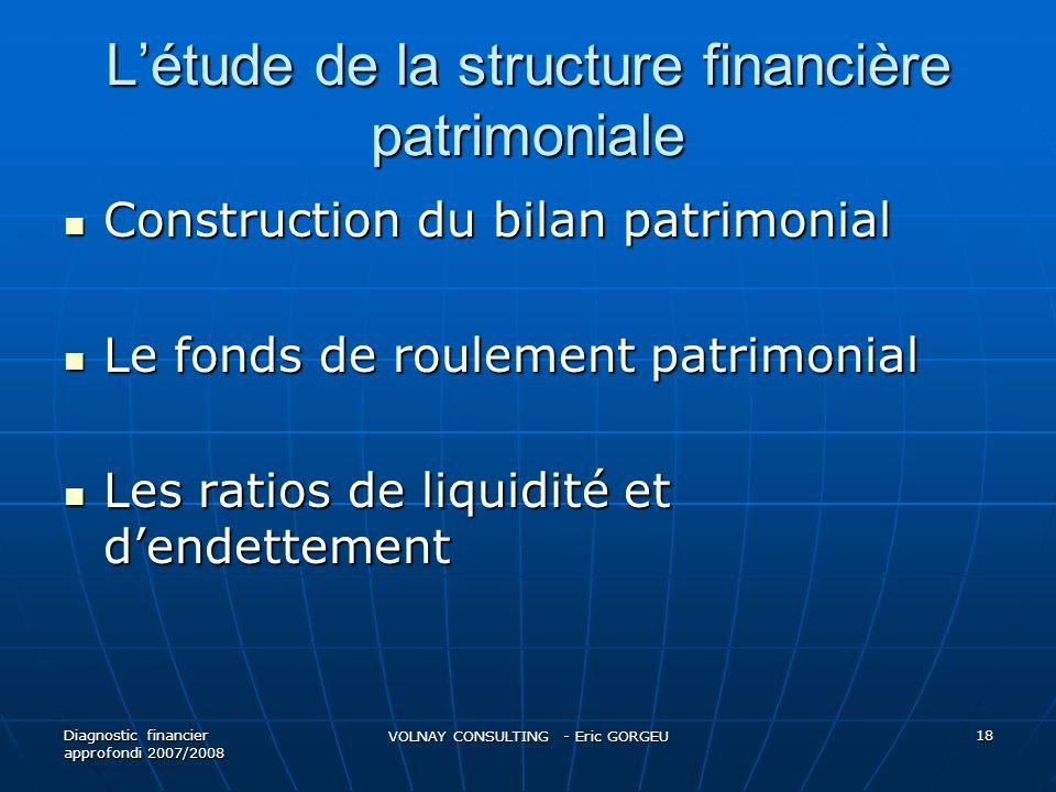 L'étude de la structure financière patrimoniale