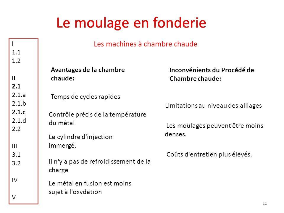 Le moulage en fonderie Les machines à chambre chaude I 1.1 1.2 II 2.1