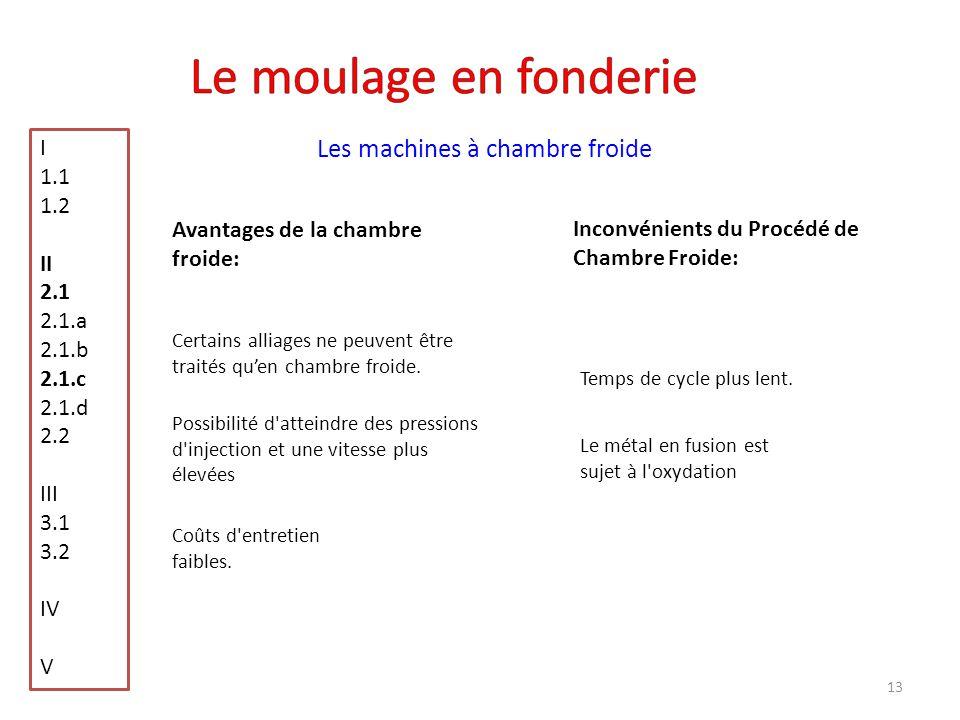 Le moulage en fonderie Les machines à chambre froide I 1.1 1.2 II 2.1