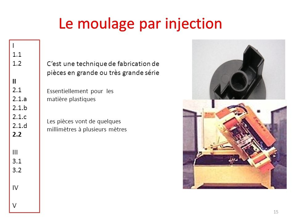 Le moulage par injection