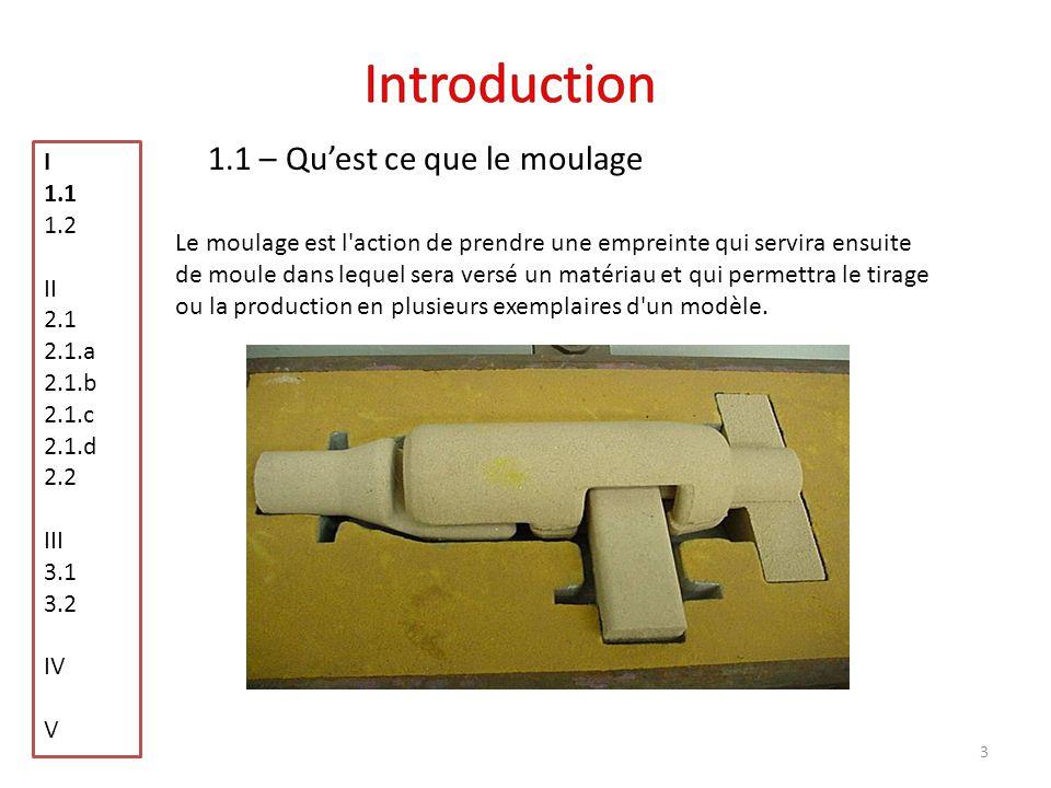 Introduction 1.1 – Qu'est ce que le moulage I 1.1 1.2 II 2.1 2.1.a