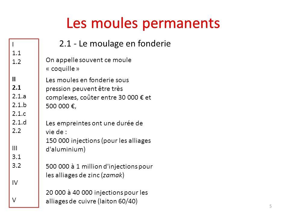 Les moules permanents 2.1 - Le moulage en fonderie I 1.1 1.2 II 2.1
