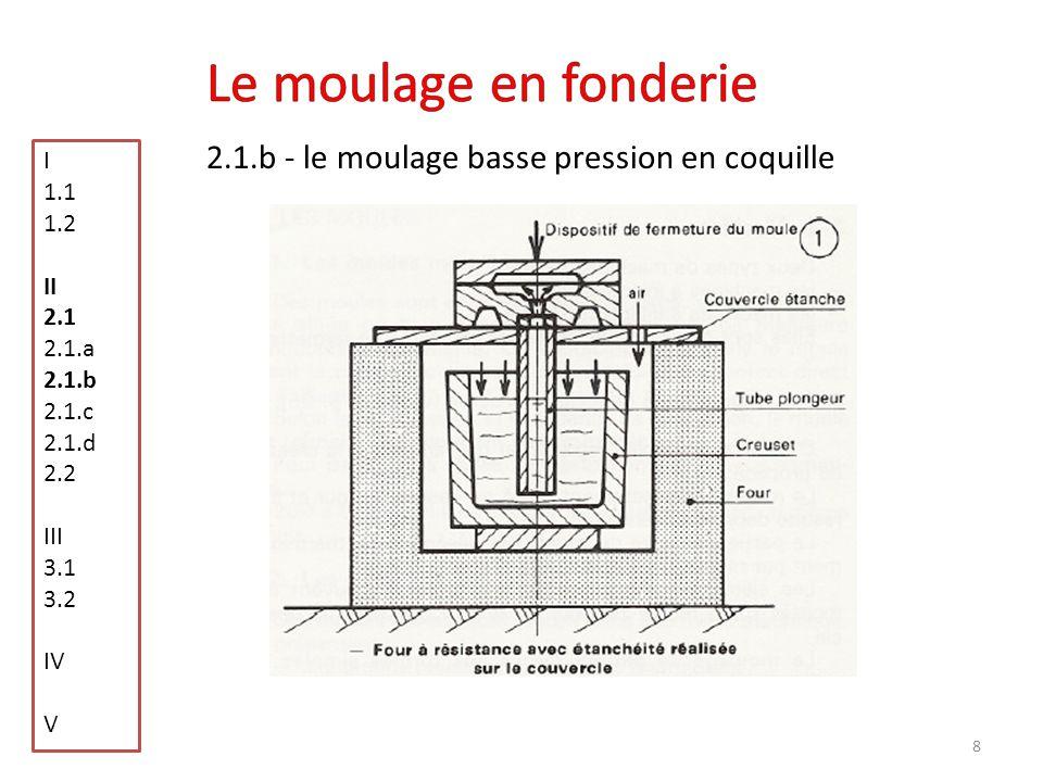 Le moulage en fonderie 2.1.b - le moulage basse pression en coquille I