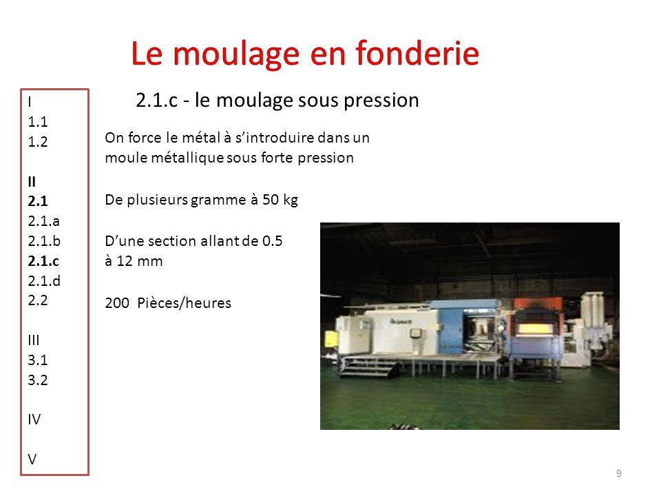 Le moulage en fonderie 2.1.c - le moulage sous pression I 1.1 1.2