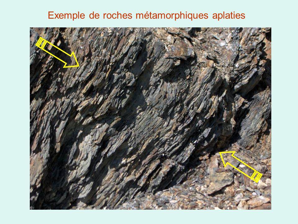 Exemple de roches métamorphiques aplaties