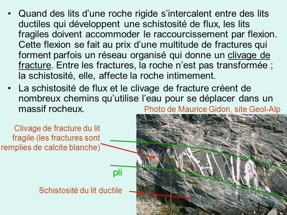 Quand des lits d'une roche rigide s'intercalent entre des lits ductiles qui développent une schistosité de flux, les lits fragiles doivent accommoder le raccourcissement par flexion. Cette flexion se fait au prix d'une multitude de fractures qui forment parfois un réseau organisé qui donne un clivage de fracture. Entre les fractures, la roche n'est pas transformée ; la schistosité, elle, affecte la roche intimement.
