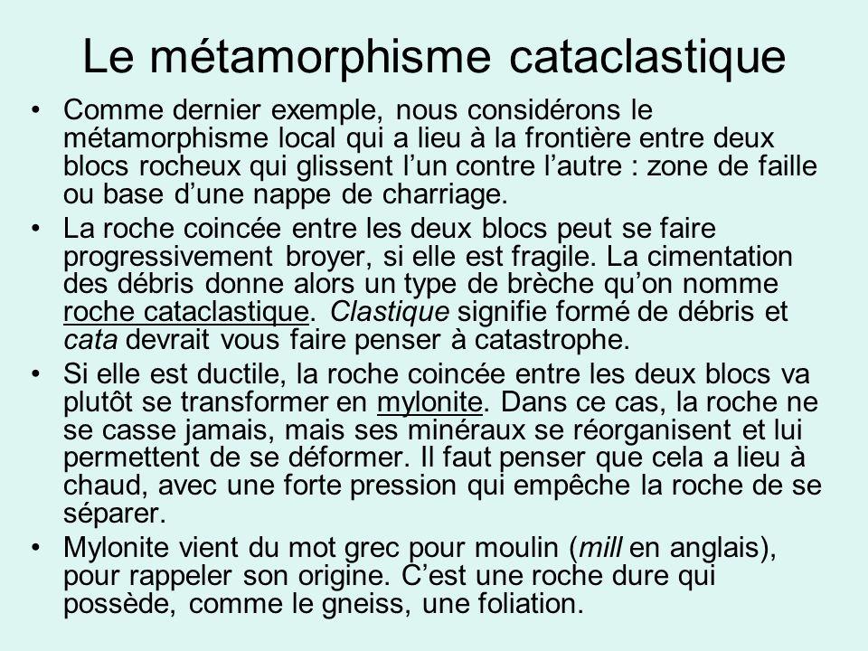 Le métamorphisme cataclastique