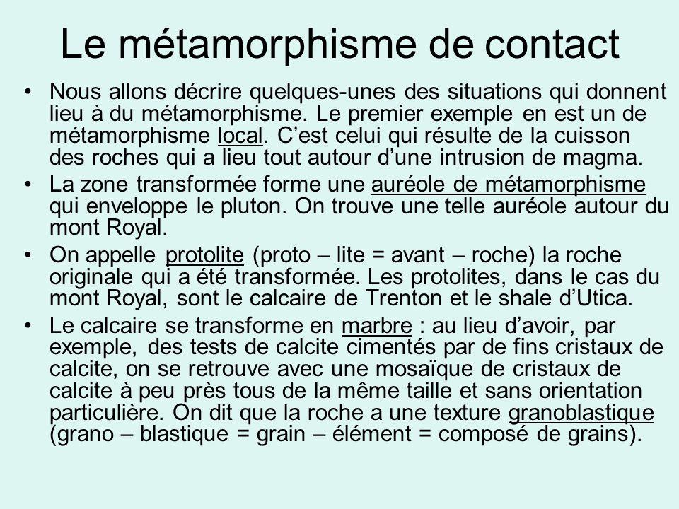 Le métamorphisme de contact