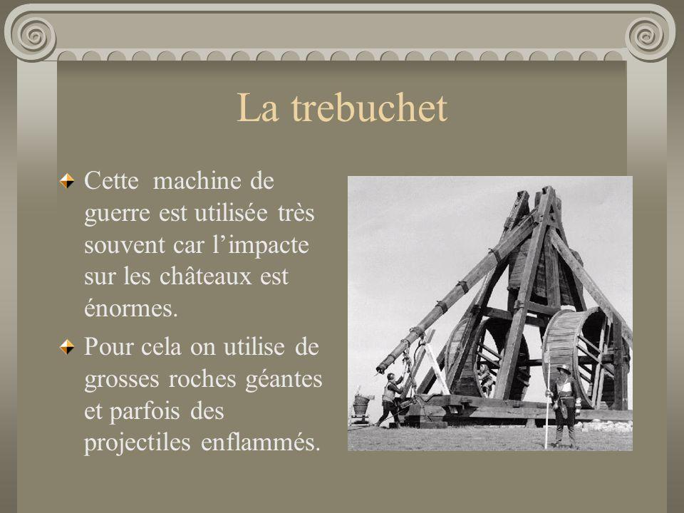 La trebuchet Cette machine de guerre est utilisée très souvent car l'impacte sur les châteaux est énormes.