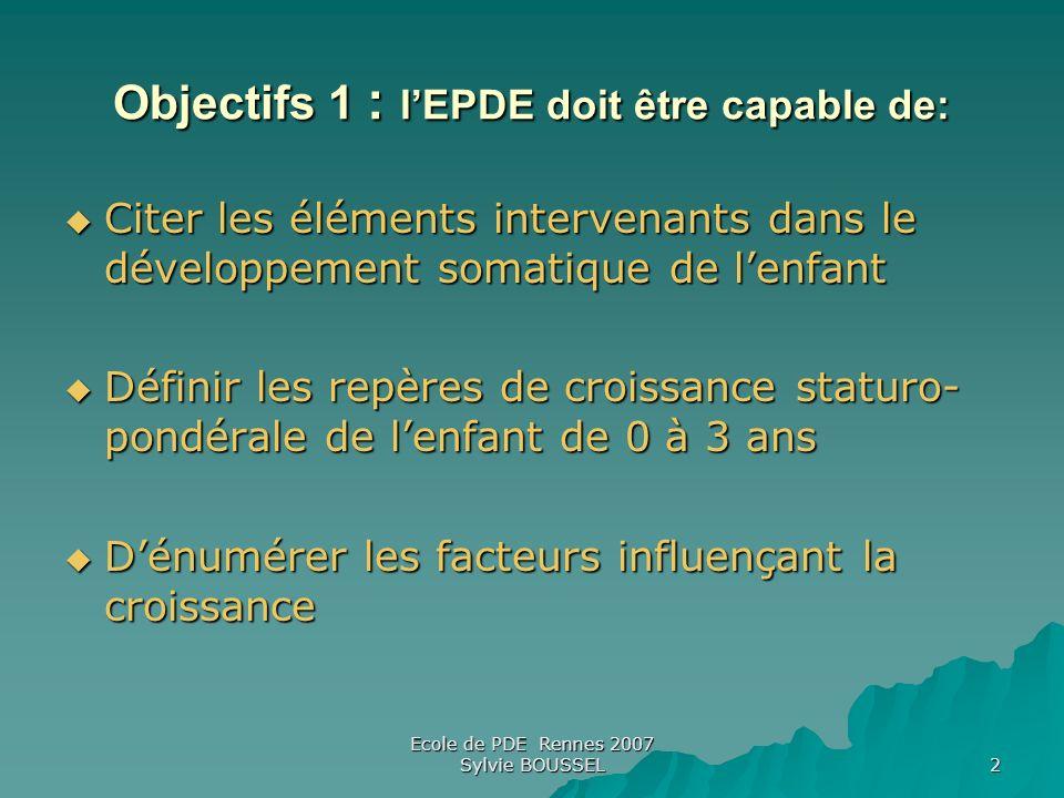 Objectifs 1 : l'EPDE doit être capable de: