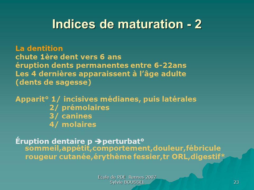 Indices de maturation - 2