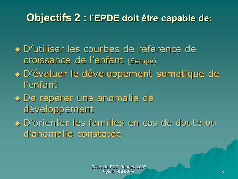 Objectifs 2 : l'EPDE doit être capable de: