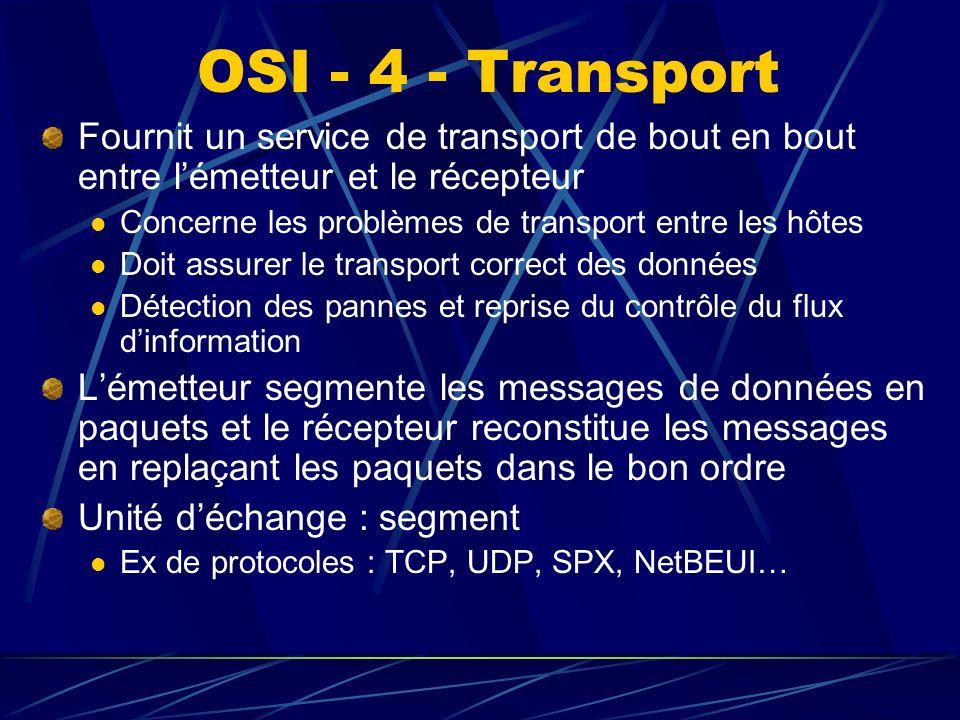 OSI - 4 - Transport Fournit un service de transport de bout en bout entre l'émetteur et le récepteur.