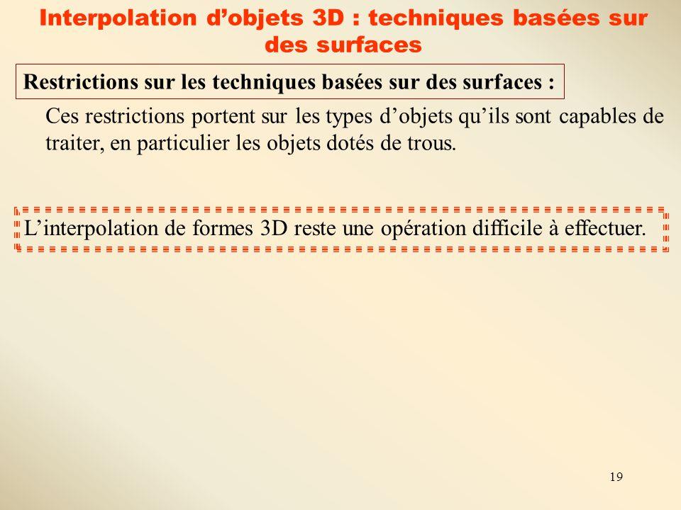 Interpolation d'objets 3D : techniques basées sur des surfaces